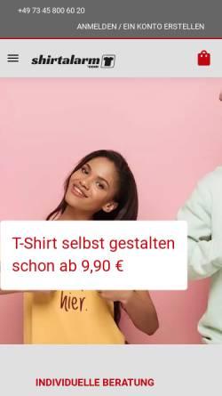Vorschau der mobilen Webseite shirtalarm.com, No Limit! Verwaltungs GmbH