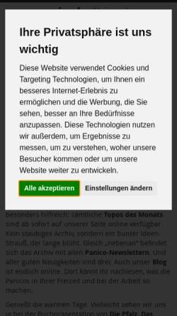 Vorschau der mobilen Webseite www.panico.de, Panico Alpinverlag