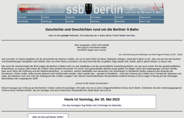 Vorschau von www.stadtschnellbahn-berlin.de, Geschichte und Geschichten rund um die Berliner S-Bahn