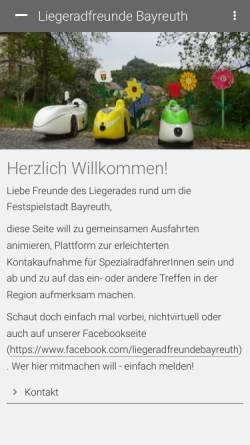 Vorschau der mobilen Webseite www.liegerad-bayreuth.de, Liegerad Bayreuth