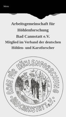 Vorschau der mobilen Webseite www.lehmpfuhl.org, Arbeitsgemeinschaft für Höhlenforschung Bad Cannstatt e.V.