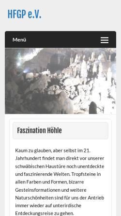 Vorschau der mobilen Webseite www.hfgp.de, Höhlenforschungsgruppe Pfullingen e.V.