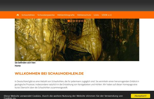 Vorschau von www.tropfsteinhoehlen.de, Schauhöhlen in Deutschland