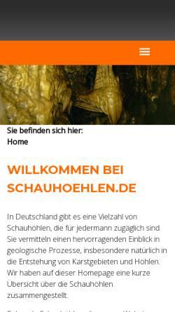 Vorschau der mobilen Webseite www.tropfsteinhoehlen.de, Schauhöhlen in Deutschland