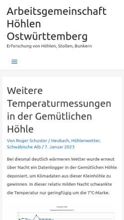 Vorschau der mobilen Webseite www.speleologie.de, Speleologie.de - Die Welt von unten.