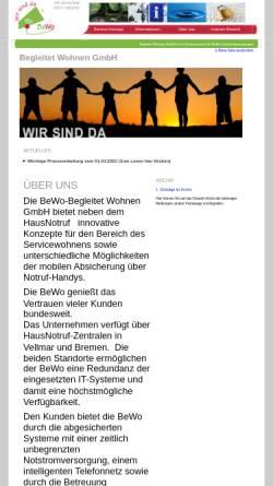 Vorschau der mobilen Webseite www.begleitet-wohnen.de, BEWO - Begleitet Wohnen