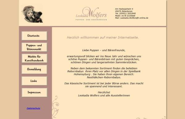 Vorschau von www.puppenboersen.de, Börsen und Märkte von Leokadia Wolfers