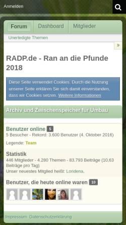 Vorschau der mobilen Webseite www.radp.de, Ran an die Pfunde