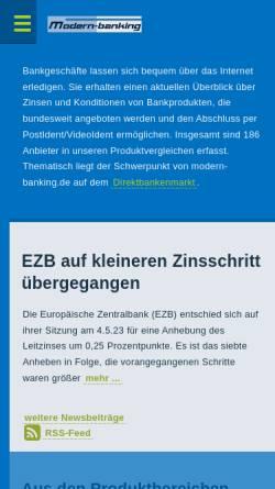 Vorschau der mobilen Webseite www.modern-banking.de, Modern-banking - Frank Rassier