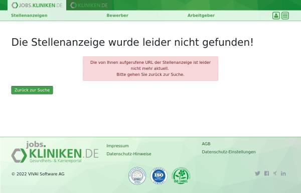 Vorschau von jobs.kliniken.de, Medizinische Jobbörse by Vivai Software AG
