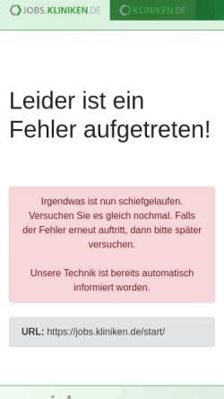 Vorschau der mobilen Webseite jobs.kliniken.de, Medizinische Jobbörse by Vivai Software AG