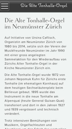 Vorschau der mobilen Webseite www.alte-tonhalle-orgel.ch, Alte Tonhalle-Orgel im Neumünster Zürich