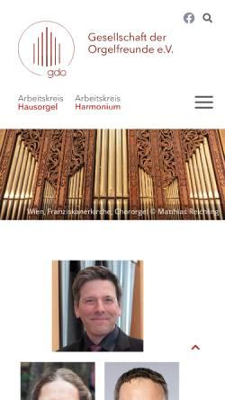 Vorschau der mobilen Webseite www.gdo.de, Gesellschaft der Orgelfreunde (GdO)