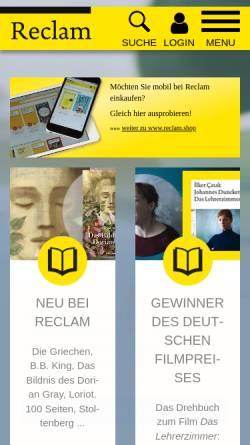 Vorschau der mobilen Webseite www.reclam.de, Reclam