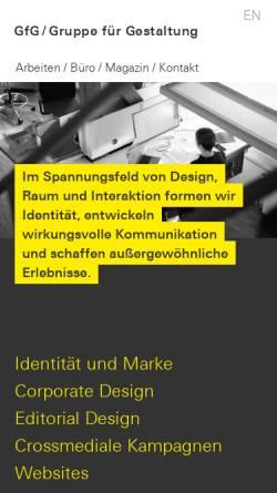Vorschau der mobilen Webseite www.gfg-id.de, GfG Gruppe für Gestaltung GmbH