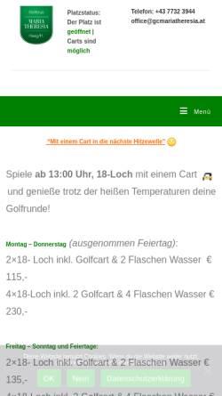 Vorschau der mobilen Webseite gcmariatheresia.at, Golfclub Maria Theresia