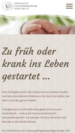 Vorschau der mobilen Webseite intensivkinder-ulm.de, Förderkreis für intensivpflegebedürftige Kinder Ulm e.V.