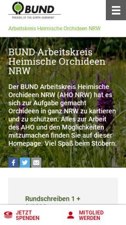 Vorschau der mobilen Webseite www.aho-nrw.de, Arbeitskreis Heimische Orchideen Nordrhein-Westfalen des BUND NW e. V.