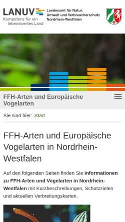 Vorschau der mobilen Webseite ffh-arten.naturschutz-fachinformationen-nrw.de, FFH-Arten und Europäische Vogelarten in NRW