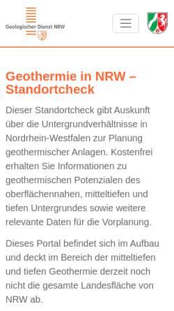 Vorschau der mobilen Webseite www.geothermie.nrw.de, Geothermie in NRW – Einsatz von Erdwärmesonden