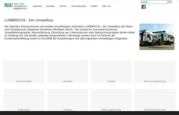 Vorschau von www.lumbricus.nrw.de, LUMBRICUS - Der Umweltbus