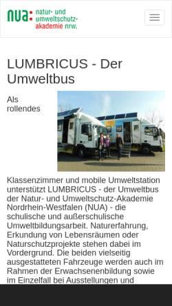 Vorschau der mobilen Webseite www.lumbricus.nrw.de, LUMBRICUS - Der Umweltbus