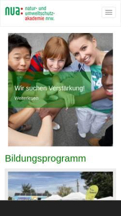 Vorschau der mobilen Webseite www.nua.nrw.de, Natur- und Umweltschutz-Akademie NRW (NUA)