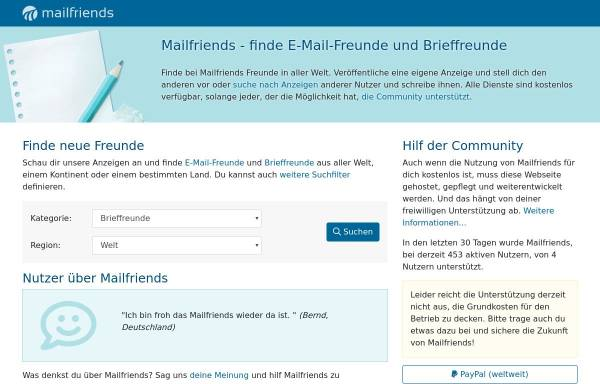 Vorschau von www.mailfriends.de, Mailfriends