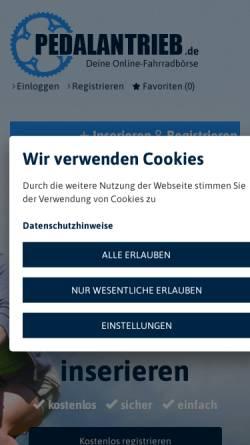 Vorschau der mobilen Webseite www.pedalantrieb.de, Pedalantrieb