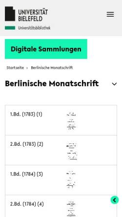 Vorschau der mobilen Webseite www.ub.uni-bielefeld.de, Berlinische Monatsschrift
