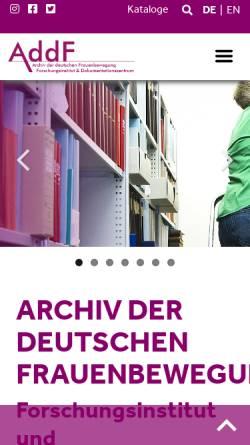 Vorschau der mobilen Webseite www.addf-kassel.de, Ariadne