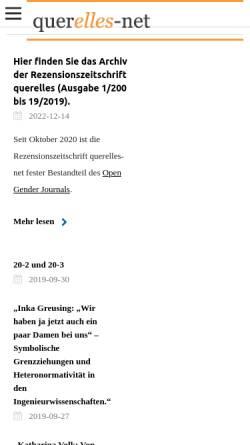 Vorschau der mobilen Webseite www.querelles-net.de, Querelles-Net