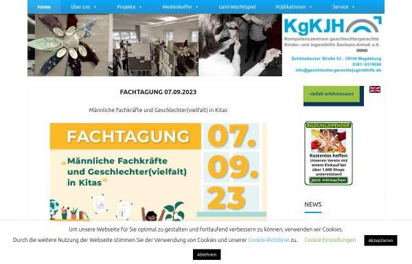 Vorschau von www.geschlechtergerechtejugendhilfe.de, Kompetenzzentrum geschlechtergerechte Kinder- und Jugendhilfe LSA e.V.