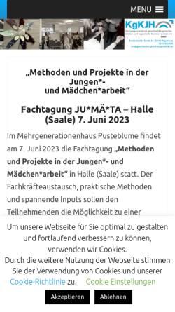 Vorschau der mobilen Webseite www.geschlechtergerechtejugendhilfe.de, Kompetenzzentrum geschlechtergerechte Kinder- und Jugendhilfe LSA e.V.