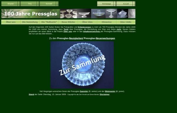 Vorschau von www.pressglas.de, 100 Jahre Pressglas - 1840 bis 1940