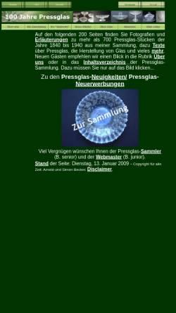 Vorschau der mobilen Webseite www.pressglas.de, 100 Jahre Pressglas - 1840 bis 1940