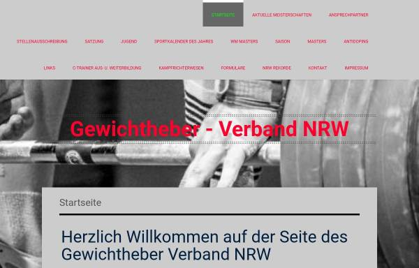 Vorschau von www.gewichtheber-verband-nrw.de, Gewichtheberverband Nordrhein-Westfalen (GVNRW)