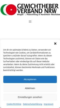 Vorschau der mobilen Webseite www.gewichtheber-verband-nrw.de, Gewichtheberverband Nordrhein-Westfalen (GVNRW)