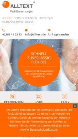 Vorschau der mobilen Webseite www.alltext.de, Alltext Fachübersetzungen GmbH