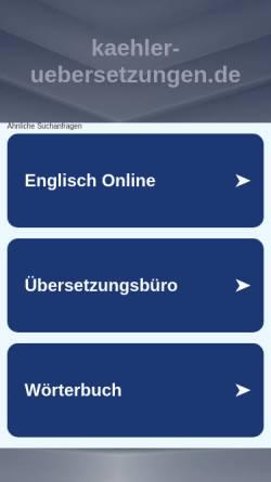 Vorschau der mobilen Webseite kaehler-uebersetzungen.de, Cornelia Kähler Fachübersetzungen