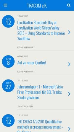 Vorschau der mobilen Webseite www.tracom.de, Tracom GbR