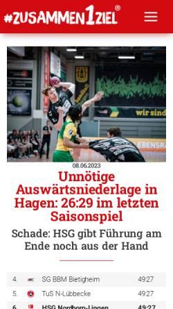 Vorschau der mobilen Webseite www.hsgnordhorn-lingen.de, HSG Nordhorn-Lingen