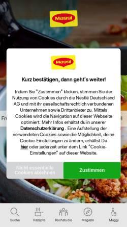 Vorschau der mobilen Webseite www.maggi.de, Maggi Kochstudio