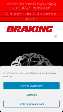 Vorschau der mobilen Webseite www.braking.de, BRAKING Motorrad-Bremssysteme