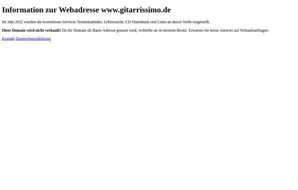 Vorschau von www.gitarrissimo.de, Gitarrissimo Onlinedatenbank