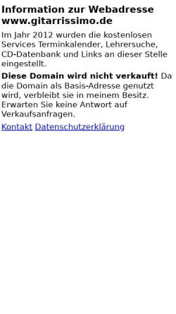 Vorschau der mobilen Webseite www.gitarrissimo.de, Gitarrissimo Onlinedatenbank