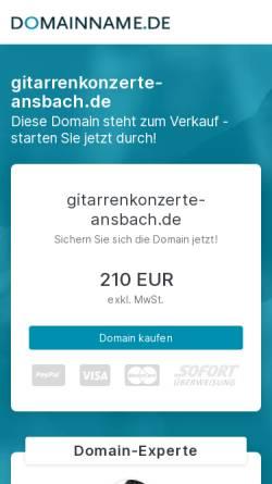Vorschau der mobilen Webseite www.gitarrenkonzerte-ansbach.de, Internationale Gitarrenkonzerte Ansbach
