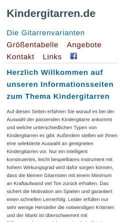 Vorschau der mobilen Webseite kindergitarren.de, Kindergitarren