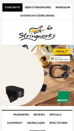 Vorschau der mobilen Webseite www.stringworks.ch, Stringworks