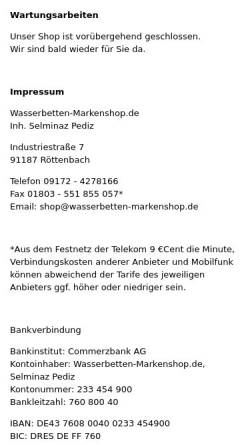 Vorschau der mobilen Webseite www.wasserbetten-markenshop.de, Wasserbetten Markenshop, Selminaz Pediz